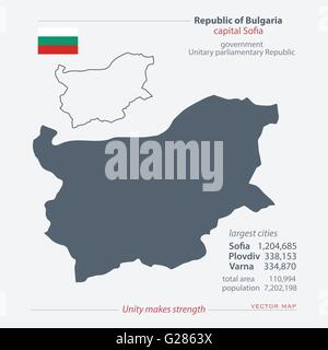 Republic of Bulgaria isolated maps and official flag icon. vector Bulgarian political map icons with general information. - Stock Photo