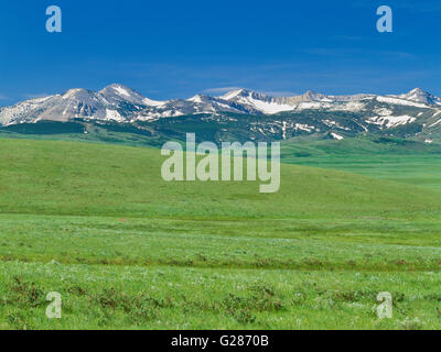 rocky mountain front above prairie on the blackfeet indian reservation near east glacier park, montana - Stock Photo