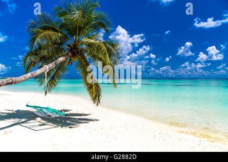 Amazing beach scenery in Maldives - Stock Photo