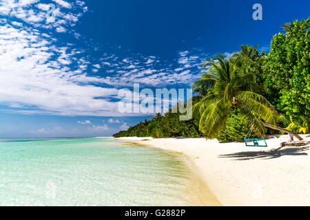 Amazing beach scenery in Maldives - Stock Photo