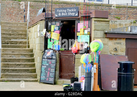 BRIDLINGTON, YORKSHIRE, UK. MAY 11, 2016. A fishing tackle and bait shop on the harbor at Bridlington in Yorkshire, - Stock Photo