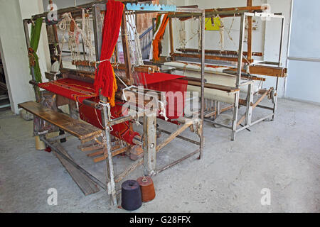 Abandoned old age handloom machine used for making cloths and fabrics in India. - Stock Photo