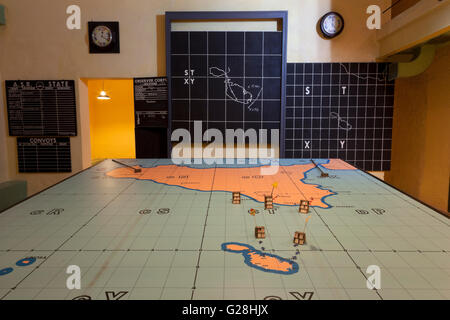 Schematic map of Malta and Sicily at World War II underground military complex in Valletta that is now open as a - Stock Photo