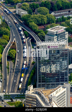 Aerial view, blocking the A40 in direction Bochum and blocking the A52 before the A40, Essen, Ruhr, Nordrhein-Westfalen, - Stock Photo
