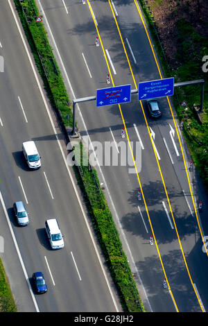 Aerial view, blocking the A40 in direction Bochum and blocking the A52 before the A40, traffic sign blocking, Essen, - Stock Photo