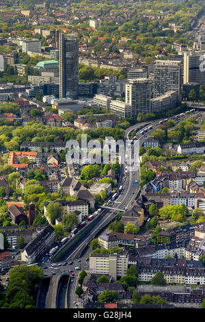 Aerial view, blocking the A40 in direction Bochum and blocking the A52 before the A40, skyline food with RWE skyscraper, - Stock Photo