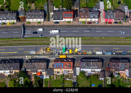 Aerial view, filling the possible day break, blocking the A40 in direction Bochum and blocking the A52 before the - Stock Photo