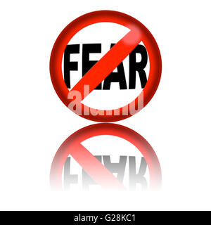 3D sphere no fear sign with reflection - Stock Photo