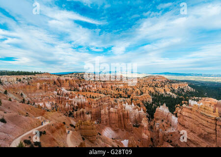 View of Bryce Canyon, reddish rocky landscape with Hoodoos, sandstone formations, Bryce Canyon National Park, Utah, - Stock Photo