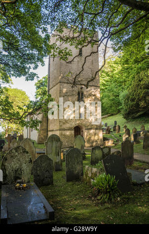 The medieval St. Illtyd's, Church, at Oxwich on the Gower, Peninsular, South Wales - Stock Photo