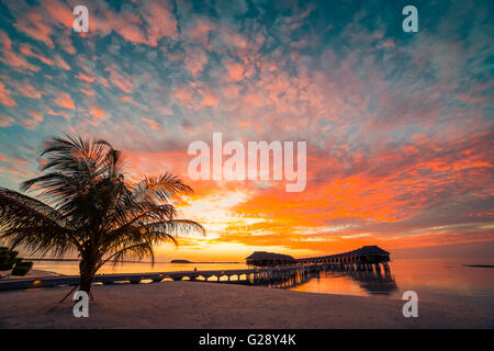 Amazing sunset beach in Maldives. Background concept - Stock Photo