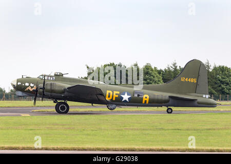 Boeing B-17G 'Flying Fortress' G-BEDF known as 'Sally B' is a Second World War bomber aircraft at the RAF Waddington - Stock Photo