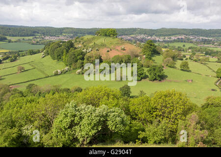 The tree topped Downham Hill in springtime from Uley Bury hillfort near Dursley, Gloucestershire, England,UK - Stock Photo
