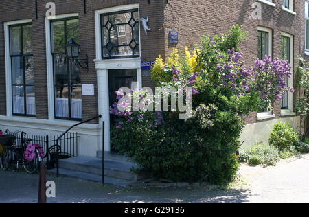 Old Amsterdam canal house with springtime flowers. Corner Leidsegracht and Prinsengracht canal, central Amsterdam, - Stock Photo