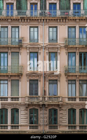Colorful, old building in Vieux-Lyon, the old city center of Lyon, France. - Stock Photo