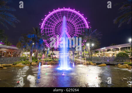 The Orlando Eye is a 400 feet tall ferris wheel in the heart of Orlando and the largest observation wheel on the east coast Stock Photo