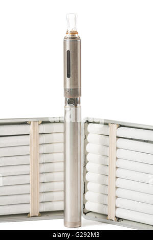 Close up of normal cigarettes in a case and electronic cigarette - Stock Photo