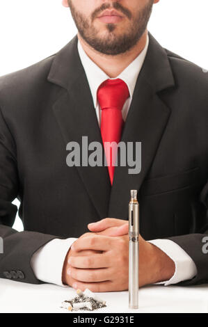 Choice between electronic cigaretted and dirty normal cigarettes. - Stock Photo