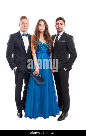One woman and two men, all dressed elegant on white background - Stock Photo