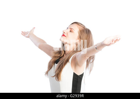 Successful business woman with arms wide open on white background - Stock Photo