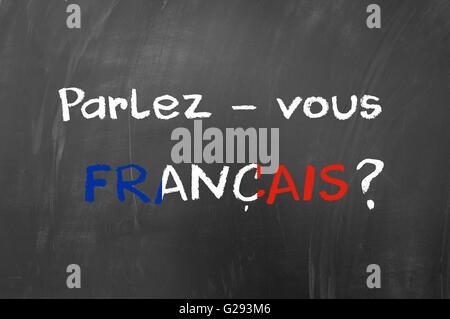 Parlez vous francais question on blackboard - Stock Photo