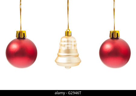 Traditional Christmas ornaments isolated on white background - Stock Photo