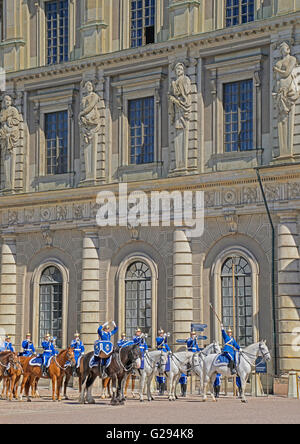 Changing of the Guards at The Royal Palace in Stockholm, Sweden. - Stock Photo