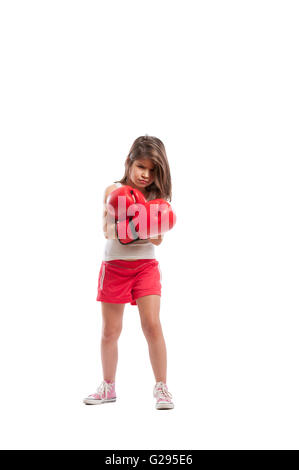 Angry boxer girl isolated on white studio background - Stock Photo