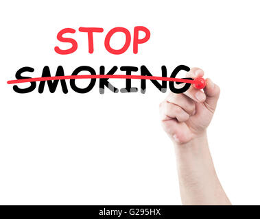 hand writing stop smoking strike text on transparent wipe board with white background and copy space - Stock Photo