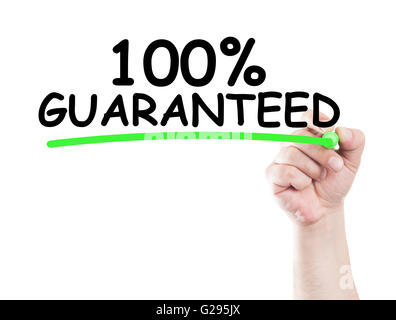 100 or one hundred procent guaranteed written by hand using a marker and underline on transparent wipe board with - Stock Photo