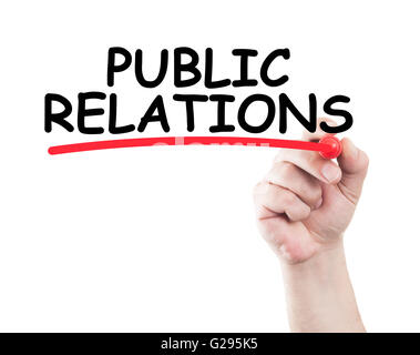 Public Relations written by hand using a marker and underline on transparent wipe board with white background and - Stock Photo