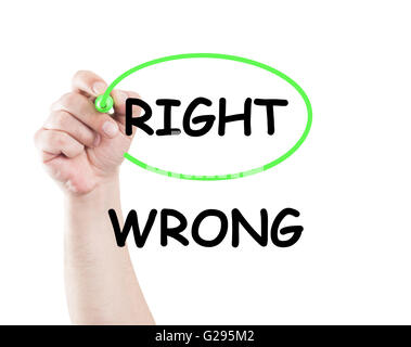 Right not wrong concept made on transparent wipe board with a hand holding a marker - Stock Photo