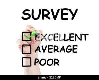 Survey text and checkboxes rating excellent average and poor. Concept made on transparent wipe board with a marker - Stock Photo