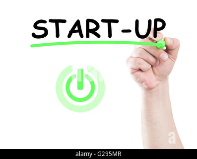 Start Up concept and button drawor written on transparent white wipe board with a hand holding a marker - Stock Photo