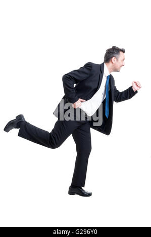Busy business man running isolated on white background - Stock Photo