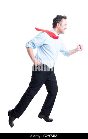 Business man running fast isolated on white background - Stock Photo