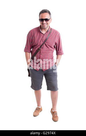 Men summer fashion concept on white background - Stock Photo
