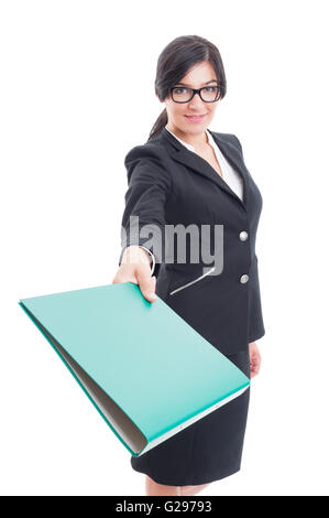 Business lady giving a file or portfolio folder to the camera - Stock Photo
