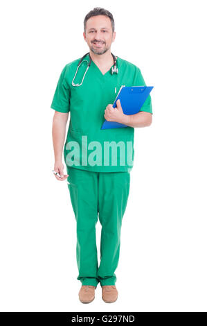 Full body of proud doctor or medic standing smiling isolated on white studio background - Stock Photo