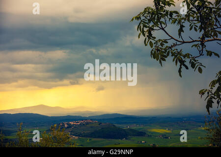 Tuscany valley in stormy weather, Italy - Stock Photo