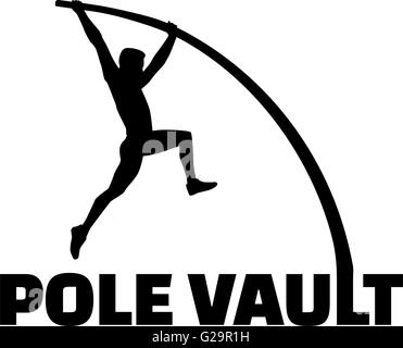 Pole vaulter with flexible pole - Stock Photo