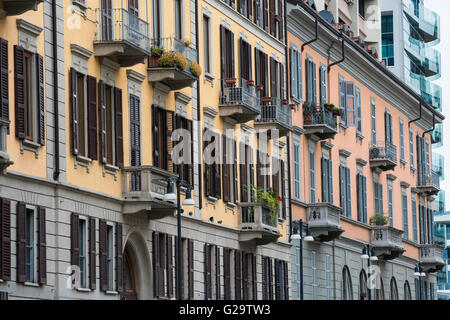 Milan (Lombardy, Italy) - facade of old residential buildings in Corso Como,  near the Gae Aulenti square, with - Stock Photo