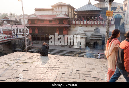 Pashupatinath Temple, sacred Hindu Temple, Bagmati River, Kathmandu, Nepal - Stock Photo