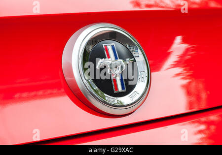 Ford Mustang Sign Close Up. The Ford Mustang is an American automobile manufactured by Ford - Stock Photo