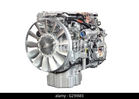 heavy truck engine front view isolated - Stock Photo