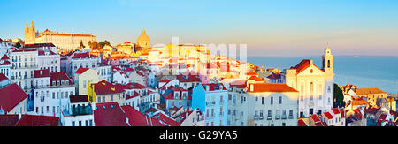 Famous Alfama district - Old Town of Lisbon. Portugal - Stock Photo