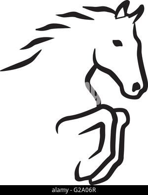 Jumping horse contour - Stock Photo