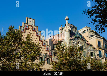 Casa Batllo by Antoni Gaudi, Passeig de Gracia, Barcelona, Spain - Stock Photo