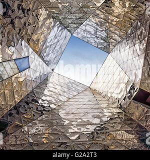 Mirror composition at Forum Building by Jacques Herzog and Pierre de Meuron. Barcelona. Catalonia. Spain. - Stock Photo