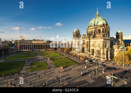 Berliner Dome Cathedral , Airial view, New Museum, Lustgarten, Berlin - Stock Photo